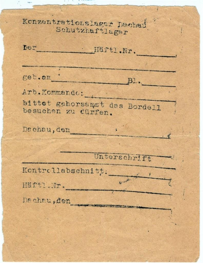 Antragsformular für den Bordellbesuch. Foto: Archiv der Gedenkstätte Dachau